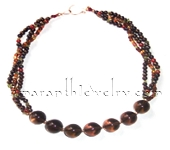 Smoky Quartz and Handmade Indian Glass Beads Necklace