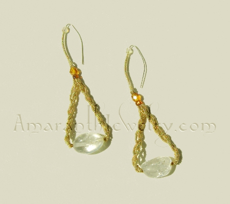 Snowflake Quartz and 24K Gold Plated Charlottes Earrings, 3.75""