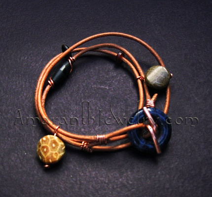 Handmade Leather Wrap Bracelet with Sodalite and Agatized Fossil Coral