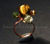 Original Rings Made by Hand - Tiger Eye Copper Ring
