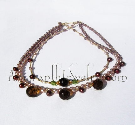 Original Handmade Bridal Jewelry - Smoky Quartz and Freshwater Pearl Triple Necklace
