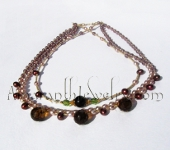 Amaranth Original Handmade Bridal Jewelry - Smoky Quartz and Freshwater Pearl Triple Necklace