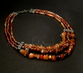 Hand crafted Necklaces - Carnelian and Red Agate Triple Strand Necklace