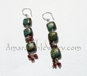 Amaranth Original Handmade Earrings - Aqua Terra Jasper and Garnet Earrings