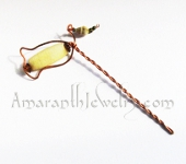 Amaranth Original Handmade Hair Jewelry - Yellow Jasper Copper Hair Stick